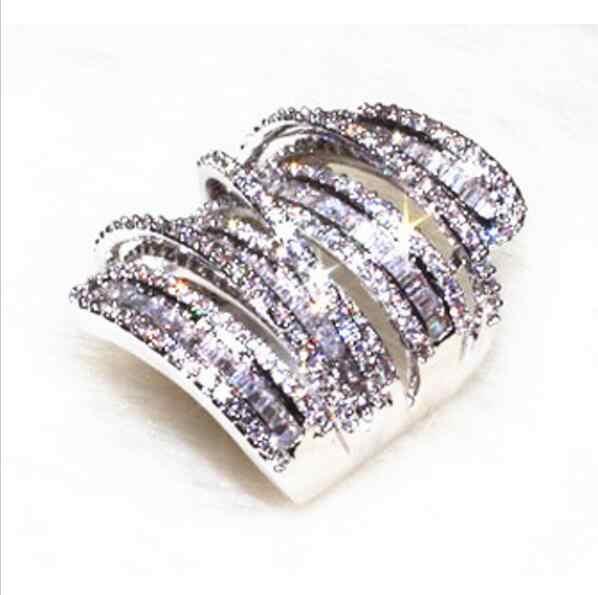 Pave Princesa 5A Branco Zirconia CZ Jóias De Luxo Fresco 925 Prata Hipérbole Mulheres Presente de Noivado Banda Anel de Dedo Grande