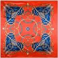 90 cm * 90 cm Cadeia Bohemian Estilo Nacional Pintado mulheres de correspondência de cores de cetim de seda grande lenço quadrado