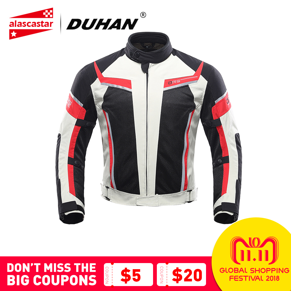 DUHAN Motorcycle Jacket Men Summer Breathable Mesh Motocross Jacket Racing Moto Jacket Motorcycle Protective Gear Moto Clothing
