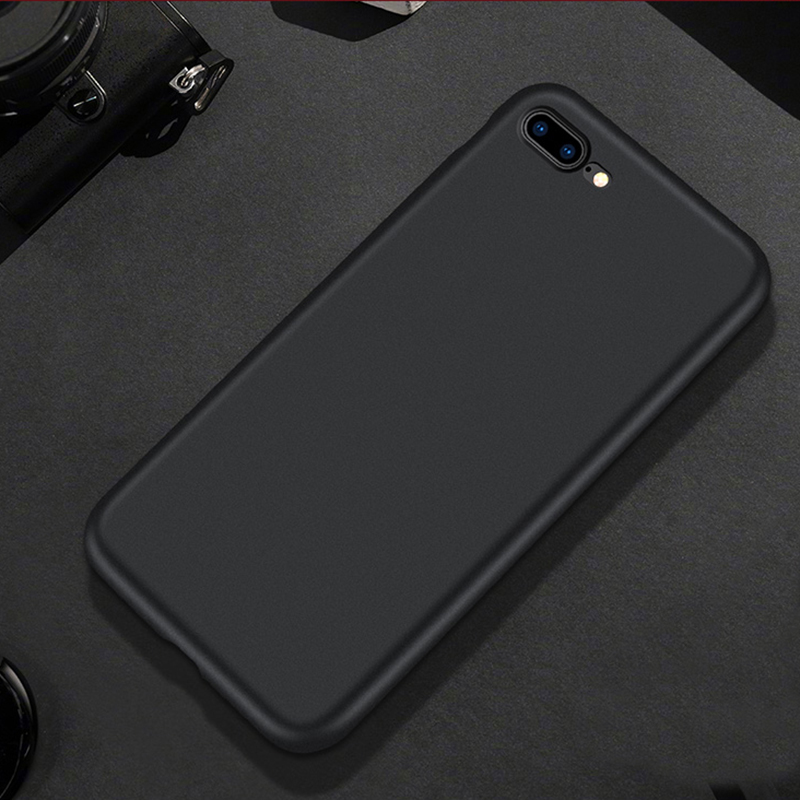 for iPhone 7 8 6 6s plus X XS max XR 5 5s SE Case Luxury Soft Back Matte black Cases Shockproof TPU Silicone Back Cover Capa in Fitted Cases from Cellphones Telecommunications