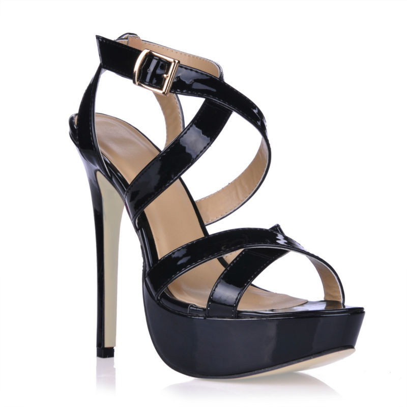 2016 New Black Sexy Party Dress Shoes Women Stiletto High Heels Buckle Strap Platform Ladies Sandals Zapatos Mujer 3463SL-a2  shinny patent leather high platform stiletto buckle strap women sandals party dress nude black lady pumps high heel dress shoes