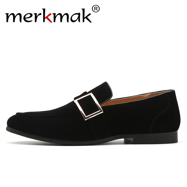 c4600b250357 Merkmak Luxury Men Party Loafers Metal Buckle Design Elegant Suede Dress  Shoe Vintage Retro Wedding Men s Footwear Casual Flats