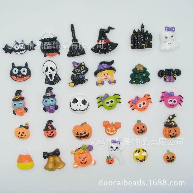 3000 unids/lote resina parte posterior plana de colores de Halloween ...
