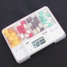 4 rejilla de plástico caja de almacenamiento electrónico momento recordatorio de medicina cajas temporizador de alarma pastillas organizador de escritorio de envase de la píldora