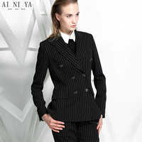 Women Pant Suits Casual Office Business Suits Formal Work Wear Sets Female Office Uniform Black White Stripes Double Breasted