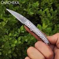 Chacheka دمشق سكين للطي بليد سكاكين الجيب فتاة النساء الرجال في بقاء أدوات عيد رائعة هدية مجموعة