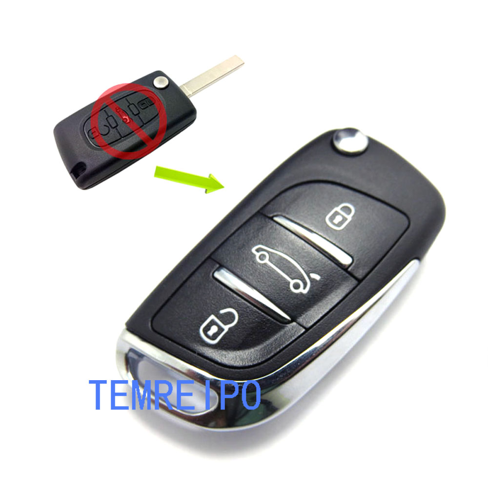 3 Button Modified Keyless Fob Shell for peugeot 207 407 406 307 308 SW 408 107 Flip Car Key Cover Case image