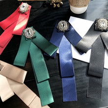 Korea Handmade Fabric Solid Bowknot Rhinestone Shirt Pins Neck Bow Tie Accessories Fashion Jewelry-YHNLB035F