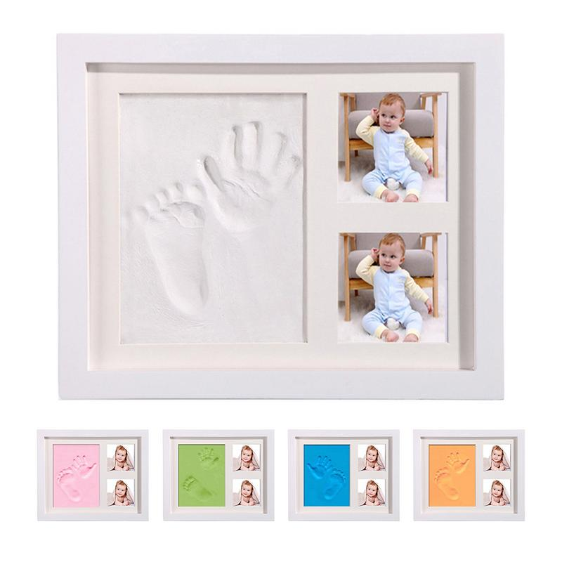Special Baby Hand Foot Print And Feet Mold Maker Solid Wooden Photo Frame Leave Footprints Baby Growth Souvenirs