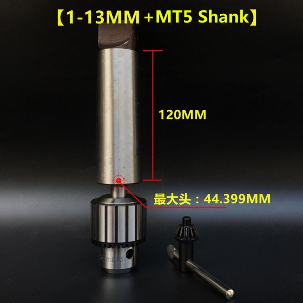 New Arbor MT5 5# Morse Taper Shank With 1-13mm B16 Key Drill Chuck CNC Lathe Hight Quality Morse Taper Shank+Drill Chucks 13mm drill chuck 2 morse taper key type drill chuck b16 capacity 0 5 13mm mt2 arbor woodworking lathes woodturning lathe shank