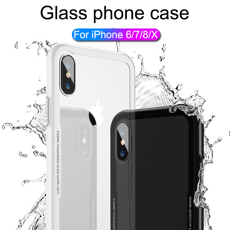 Luxury Tempered Glass case for iPhone 6 6s 7 8 plus X case Glass Cover for iPhone 7 x 6 8 plus phone case iPhone case 7 6 8 plus