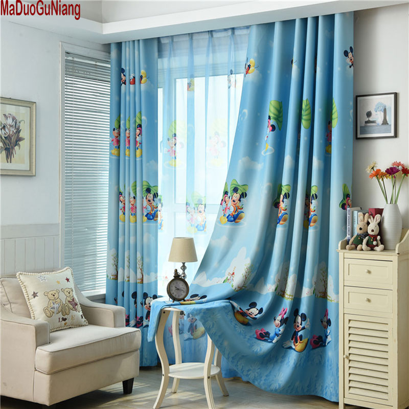 Blue Mickey Mouse Printed Kids Curtains For Boy Bedroom