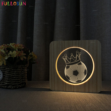 Wood Desk Lamp Warm Light Color Nordic Style 3D Soccer Wooden Table Night Decoration Gift