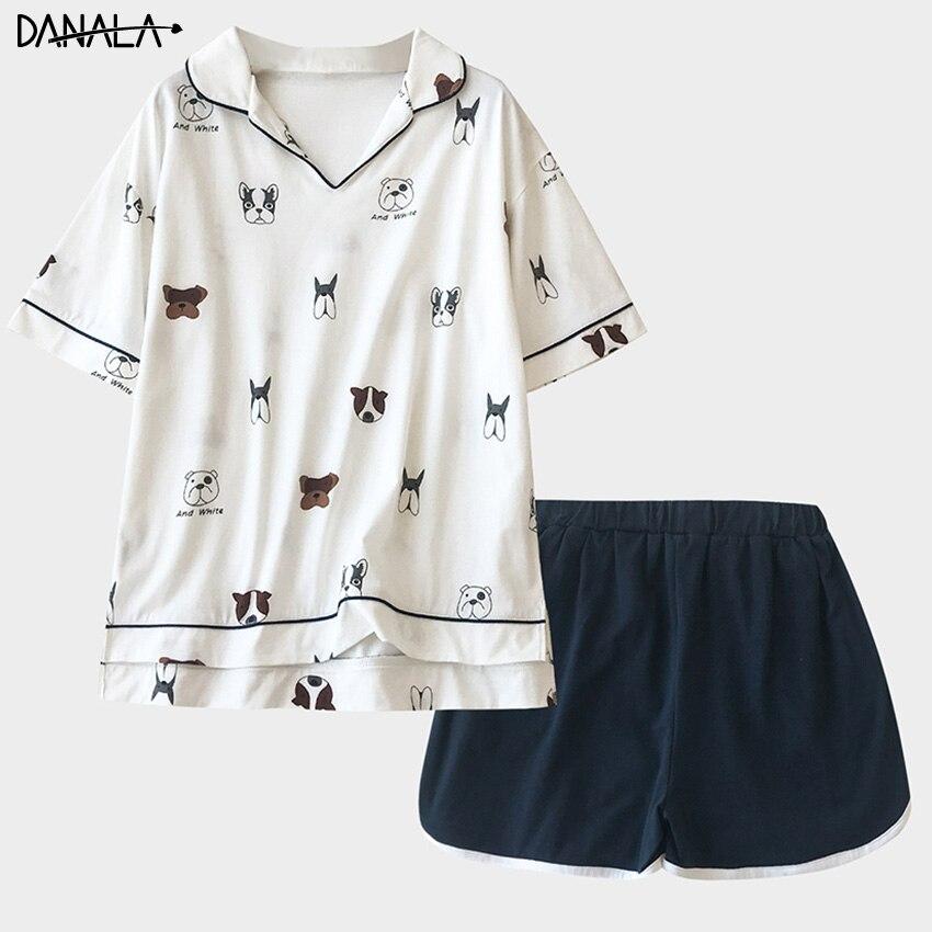 DANALA Сексуальная Хлопковая женская одежда для сна Летние Животные Принт мягкий короткий рукав женские пижамы Vogue домашняя ночная рубашка