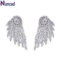 New Fashion Charm Women's Stud Earrings Jewelry Trendy White Rhinestone Angel Wings Feather Crystal Earrings Silver Color