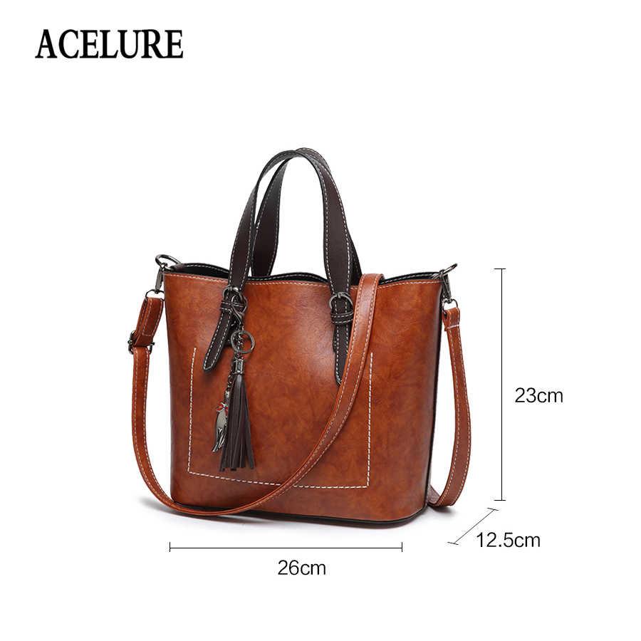 ACELURE مصمم المرأة حقيبة كتف حقيبة يد جلدية خمر الموضة براقة الإناث حقيبة ساع حقيبة كروسبودي الرجعية bolsos