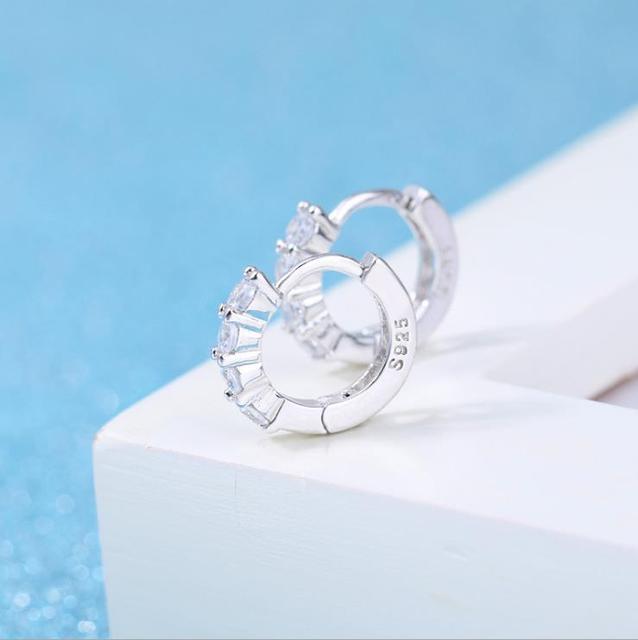 Cute 925 Sterling Silver CZ Circles Small Loop Huggie Earrings For Women Jewelry Kids Baby Toddler Girls Arose