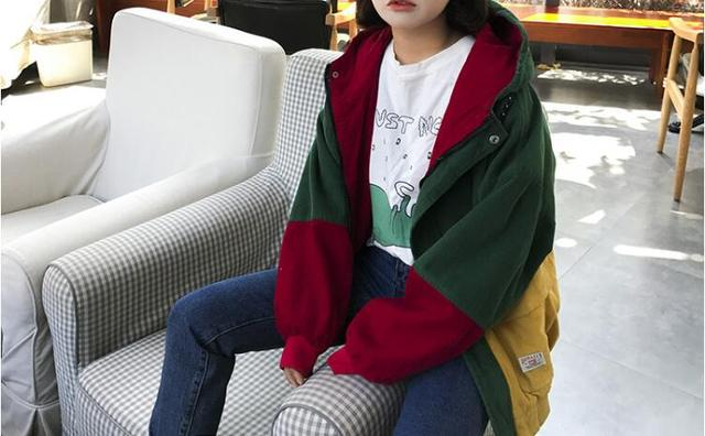 23eb4f312bc6dc Winter Warm Color Block Hooded Corduroy Jacket Drawstring Hit Color Patched  Pocket Thick Basic Women Coat