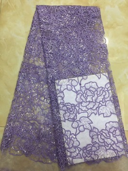 best Quality  SYJ-31312 African Tulle Lace Fabric fashion African French Lace Fabric with sequins
