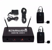 STARAUDIO SMVB-2001B Black Skilled VHF Wi-fi Karaoke Microphone System with 2 Channel Headset Microphones