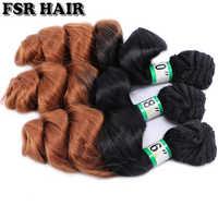 FSR noir à brun #1B/30 Ombre lâche vague cheveux paquets 70 gramme une seule pièce Double trame synthétique cheveux Extensions
