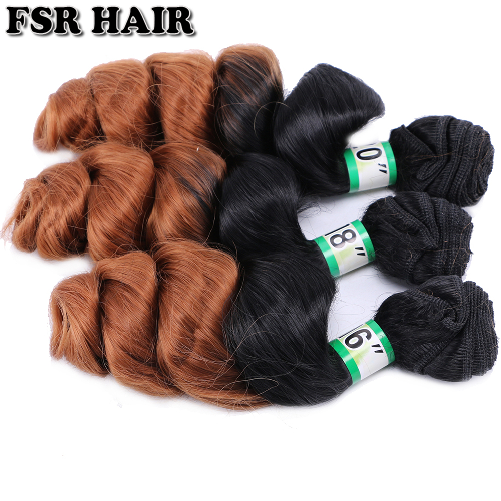 FSR Black To Brown #1B/30 Ombre Loose Wave Hair Bundles 70 Gram One Piece Double Weft Synthetic Hair Extensions