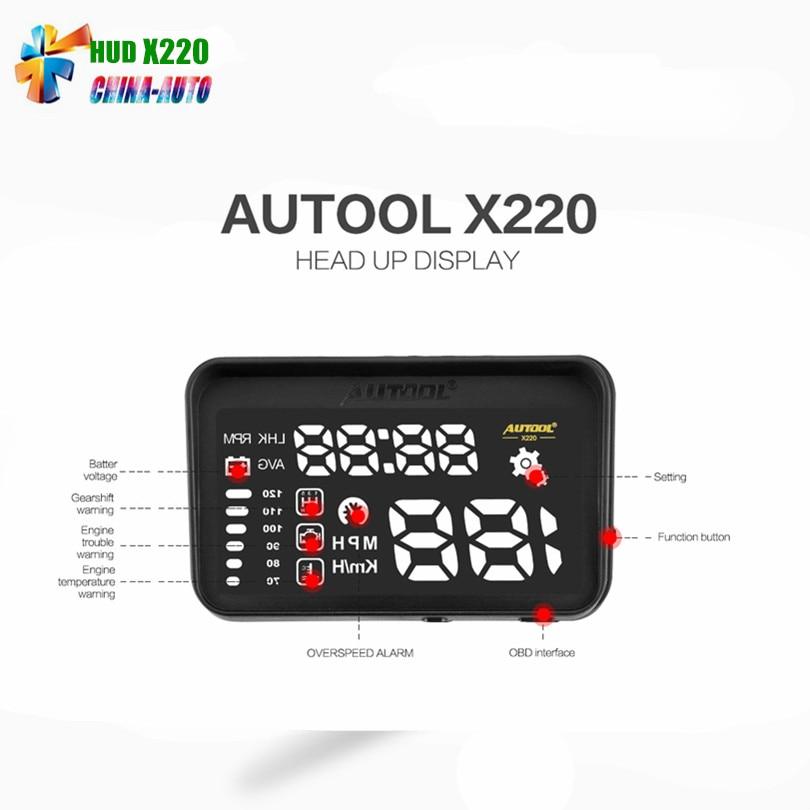 AUTOOL X220 obd hud Car styling Universal Car hud head up display speedometer Smart Digital car speedometer OBD2 Interface