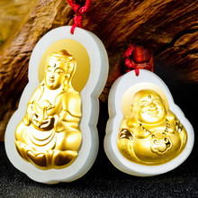 Drop Shipping HeTian Jade Maitreya Pendant Lucky Amulet Gold Jade GuanYin Buddha Necklace For Women Men 24K Gold Jewelry Gift все цены