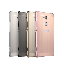 For Sony Xperia XA2 H4133 Case for XA 2 Brushed Back Cover Hard with Plating Metal Frame 5.2