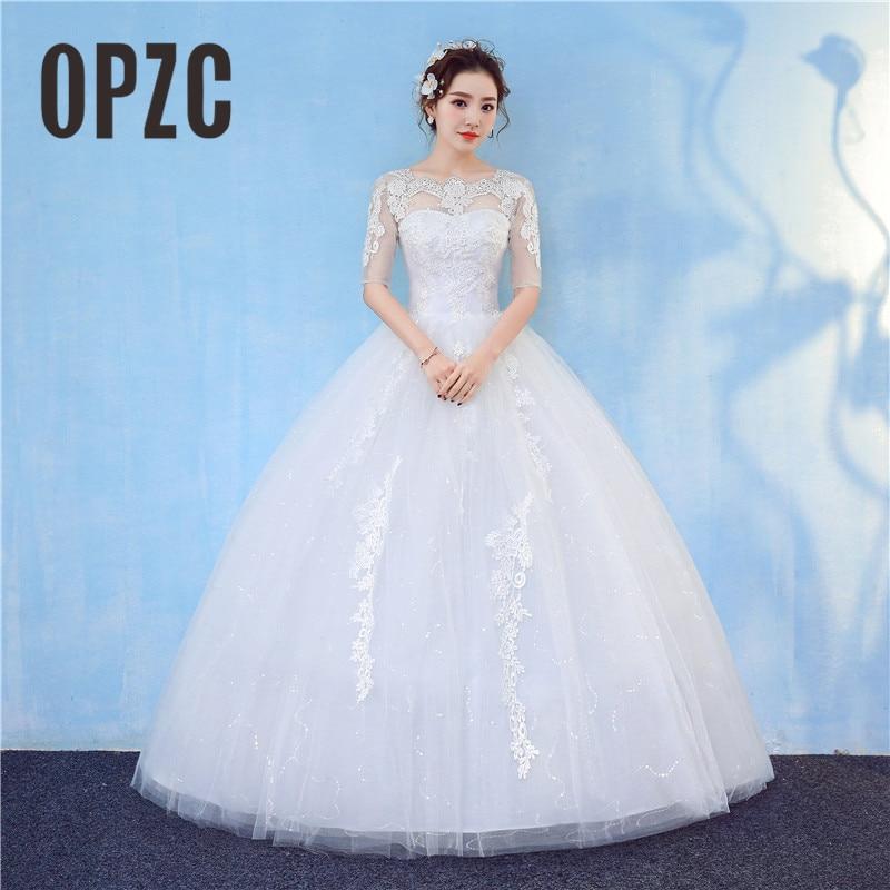 Real Photo Vestido De Noiva Orgazan Boat Neck Half Sleeve Wedding Dress 2018 New Fashion Lace