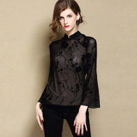 Sexy Black Women Mandarin Collar Shirt Autumn NEW Long Sleeve Floral Blouse Improved Tang Tops Traditional Chinese Clothes