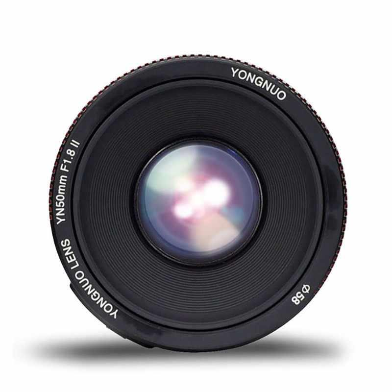 YONGNUO YN50mm F1.8 II duży otwór przysłony Auto soczewka skupiająca mały obiektyw z Super efekt Bokeh dla Canon EOS 70D 5D3 600D aparat DSLR