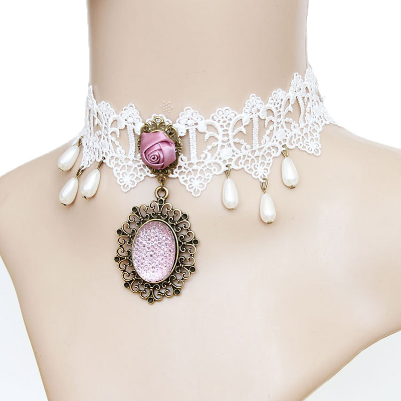 Handmade Womens Pink Oval Pendant Faux Pearl Drop Floral Rose White Lace Choker Collar Statement Necklace Wedding Bridal Bride