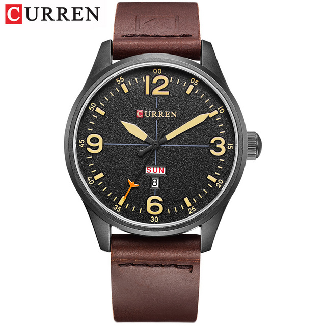 CURREN Brand Luxury Casual Military Quartz Watch Men Wristwatch Leather Strap Calendar erkek kol saati Relogio Masculino