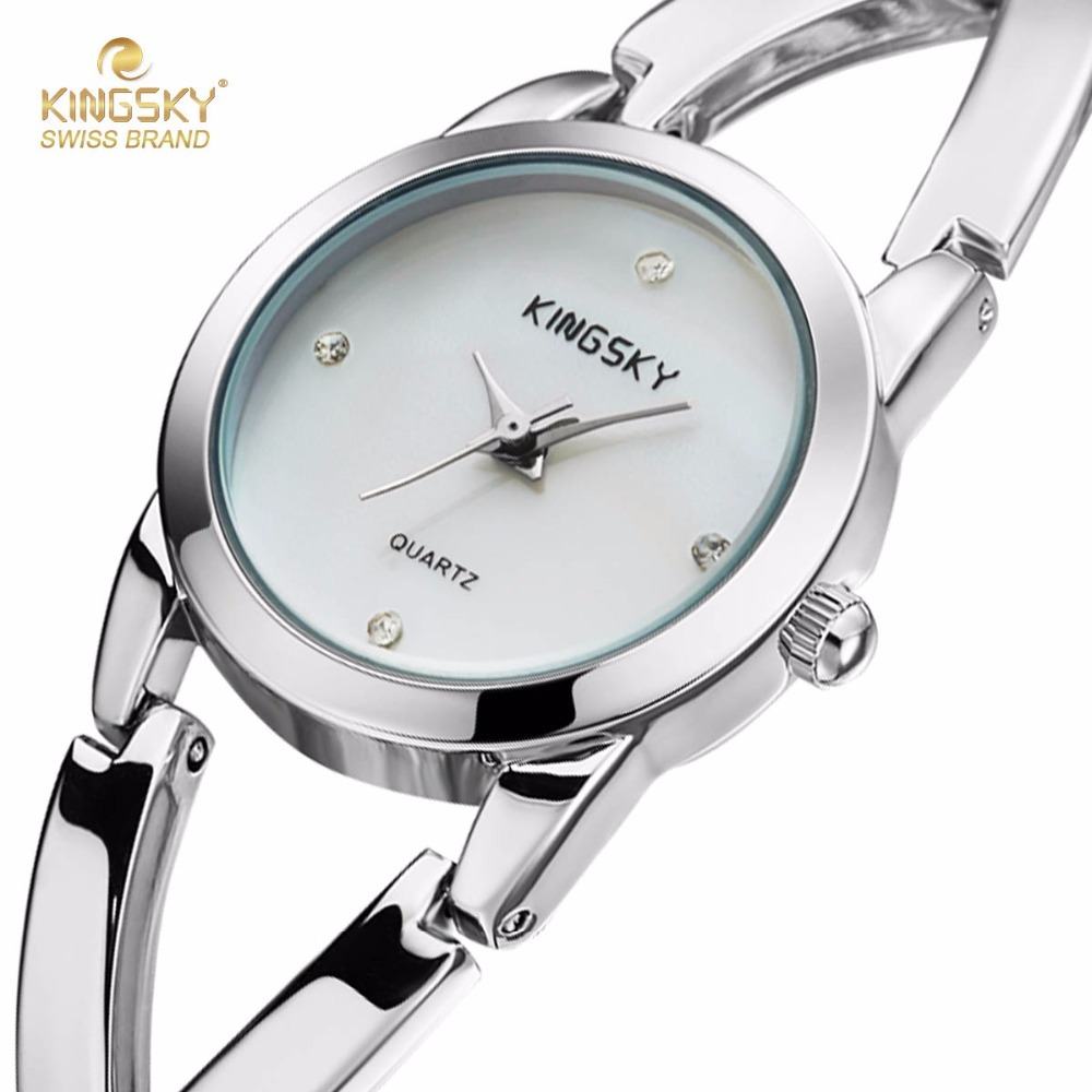 Fashion Ladies Dress Watches Brand Famous KINGSKY Small Women Quartz Watch Alloy Steel Wristwatches 2017 New onlyou brand luxury fashion watches women men quartz watch high quality stainless steel wristwatches ladies dress watch 8892