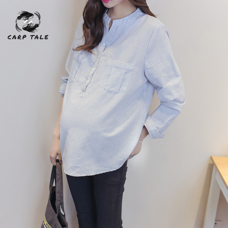 Maternity Autumn Blouse Casual Chiffon Pregnant Women Loose Full Shirts Women's Clothing Pregnancy Clothes Tops For Maternity