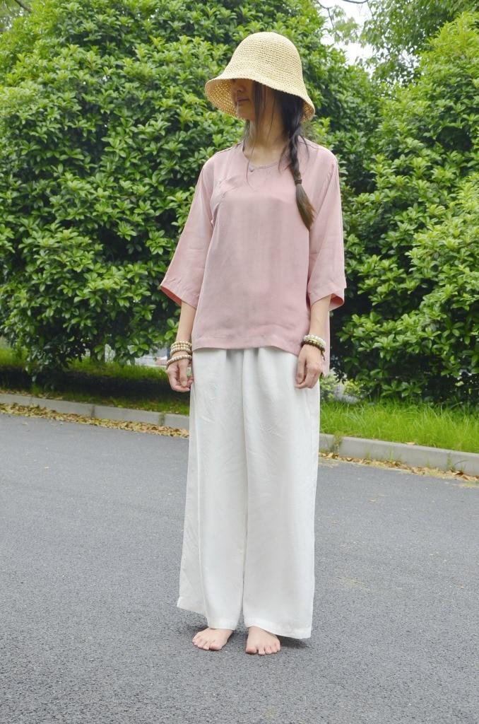 Рубашка в китайском стиле, однотонная, с круглым вырезом, с пятым рукавом, топ, аммиак, медная проволока, винтажная рубашка, женская, 18055