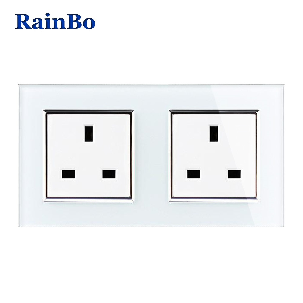 RainBo Wall UK Socket  andard Power Socket Glass Panel AC Wall Power smart outlet Socket  Free Shipping Factory A28U8UW/B suck uk