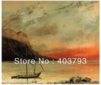 Sunset on Lake Leman Gustave Courbet repro  oil painting on canvas  free shipping