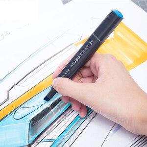 Image 3 - Deli 24/36/48/60 Renk resim kalemi Çift Ipuçları 1 7mm Ince Fırça Belirteçleri Kalem su Bazlı Mürekkep Marker Çizim Manga Sanat Malzemeleri