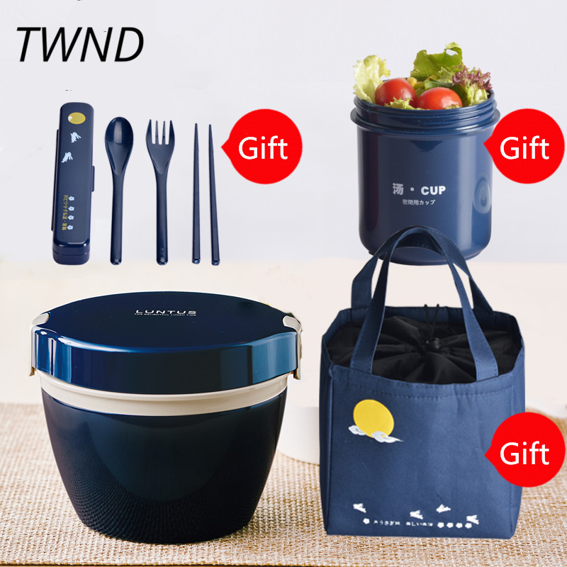 Japanese style bento box stainless steel lunch box thermal insulation microwaveble food containter tableware with bags