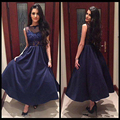 Fashion Navy Blue Short Prom Dress Simple Appliques Lace Beaded Ankle Length Evening Party Gowns Cheap Sleeveless Prom Dresses