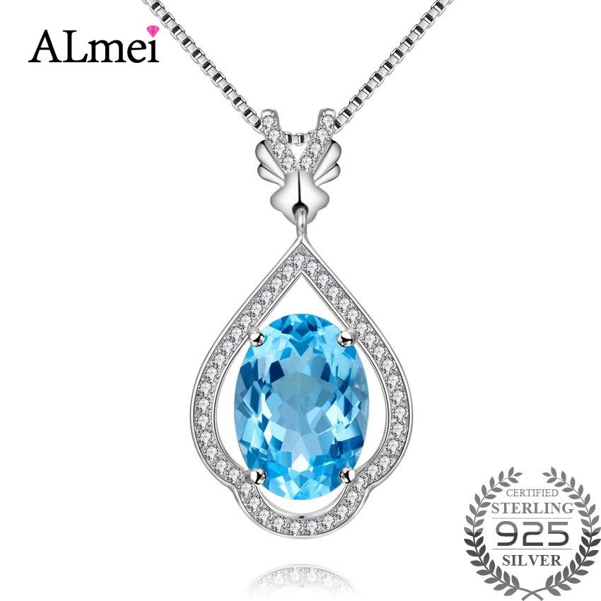 Almei 5CT 925 argent Sterling naturel bleu ovale topaze déclaration pendentif femmes collier argent Zircon-bijoux avec boîte 10% CN003