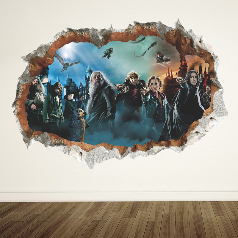 Harry Potter 3d Wall Hole Poster Hogwarts Wall Stickers