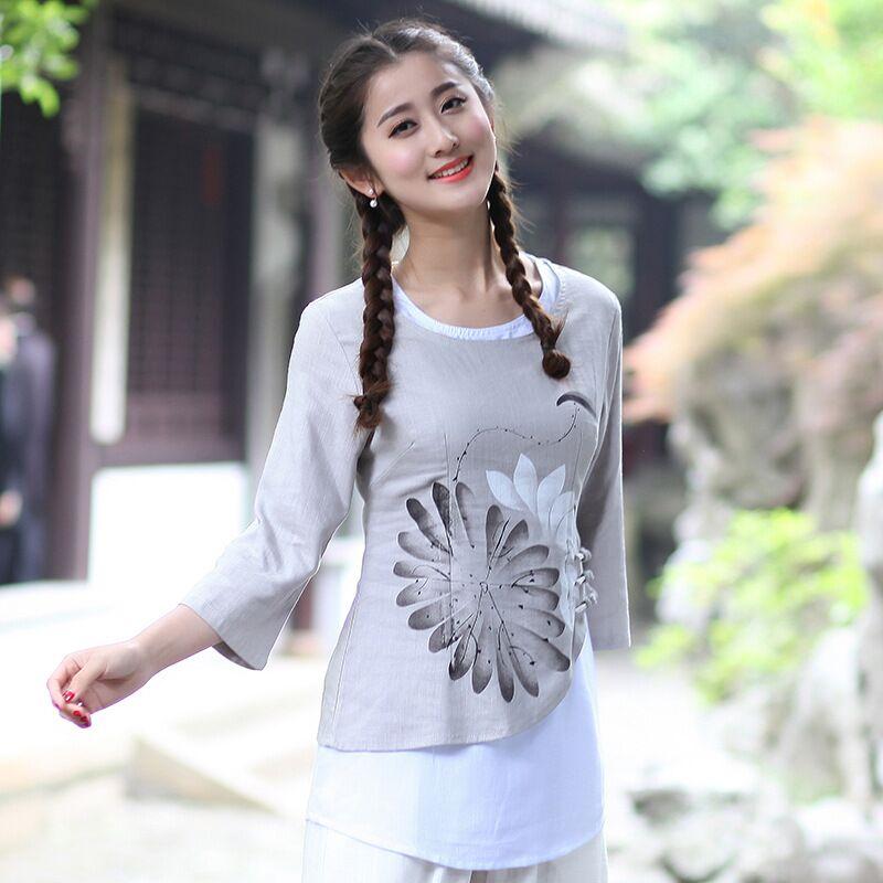 Venta caliente Tradicional estilo Chino de Las Mujeres Top de la Camisa de Algod