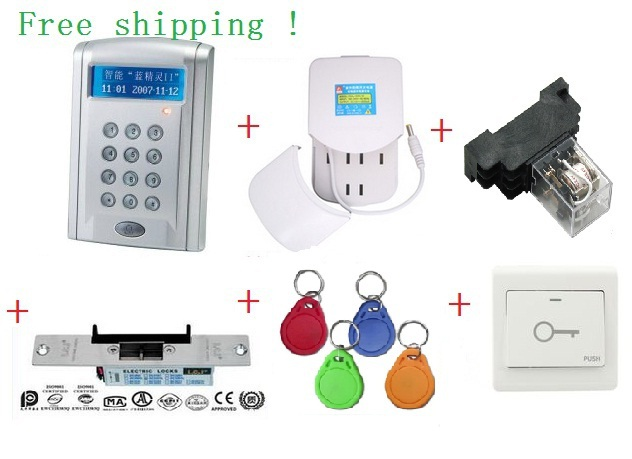 ФОТО access control kit ,LCD Display RS485  Networking Entry Door Access Control System+power+250kg Cathode lock +10em KEY TAG