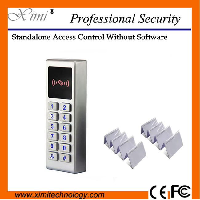 High quality without software 125KHZ  rfid smart card access control  M10 metal surface waterproof  single access controller single access control 1000 user without software smart switch to open with keyboard 13 56mhz card reader f007b access controller