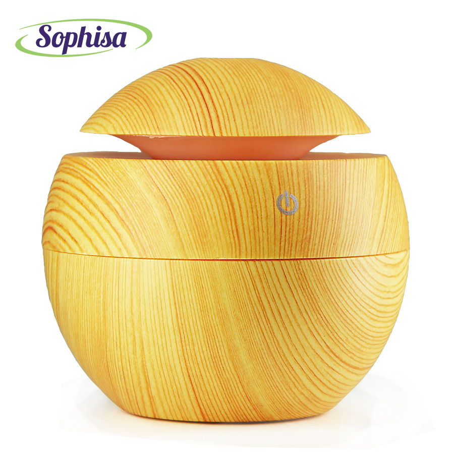 130Ml Classic Round Ball Shape Usb Air Humidifier Aroma Essential Oil Diffuser LED Lights Mist Maker Best Gift SPSMALL02