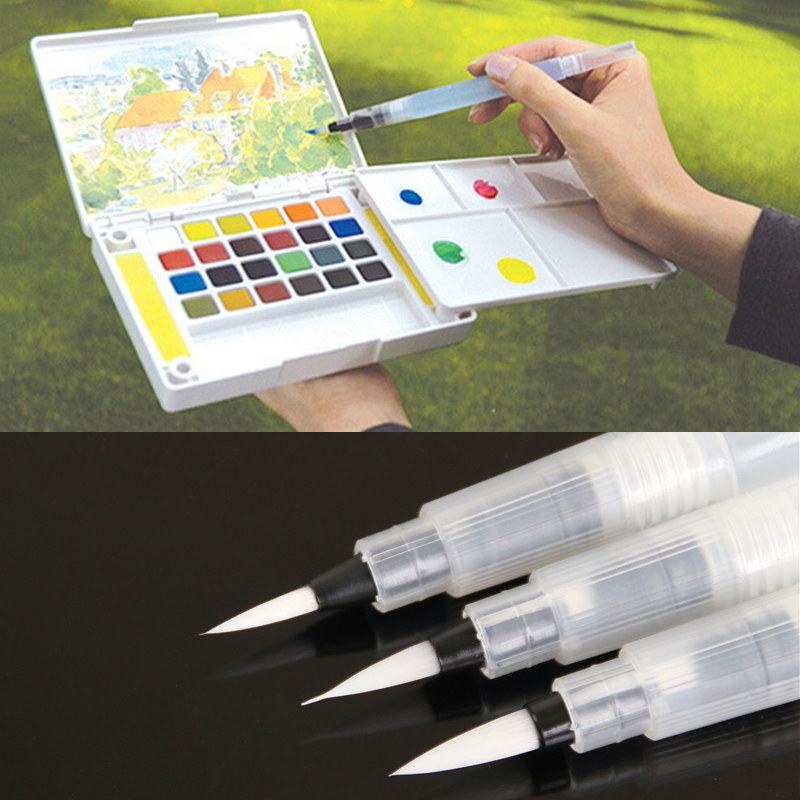 Refillable 5 Pcs Water Brush Ink Pen For Water Color Calligraphy Drawing Painting Illustration Pen Office Stationery