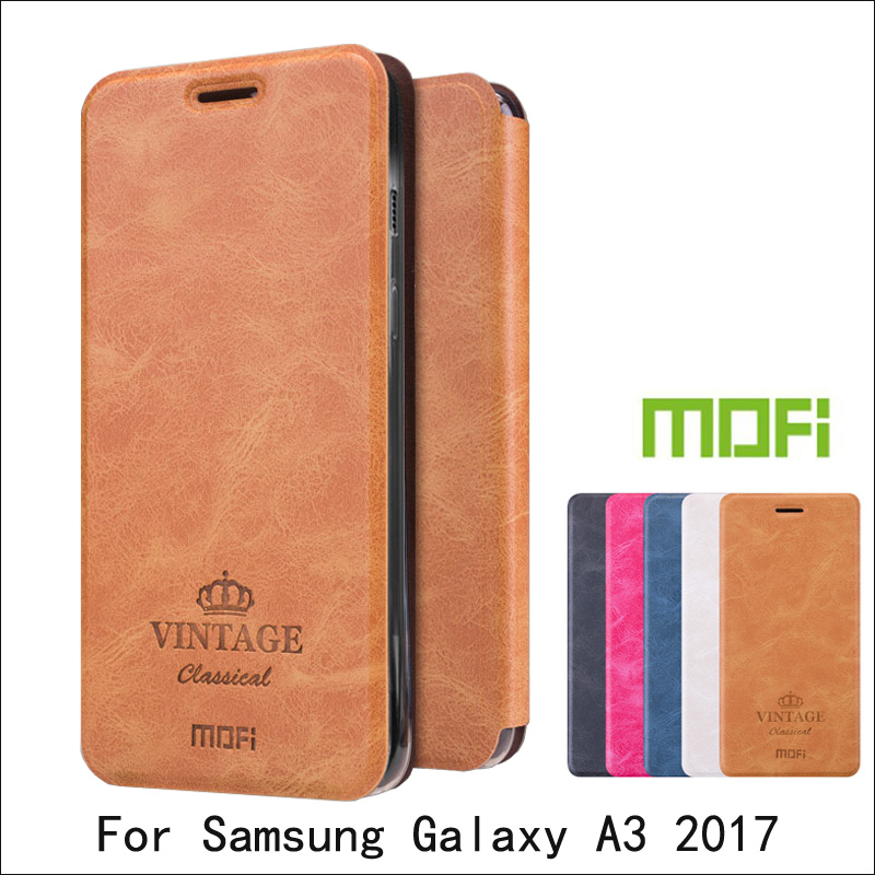 Mofi For Samsung Galaxy A3 2017 Case Book Flip Leather Cover För Samsung A3 2017 skyddsfodral